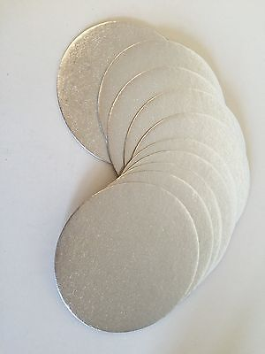 "10 x 6"" INCH (15cm) Round THIN CAKE boards Cards SILVER Support Cupcake Culpitt"