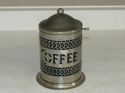 VTG Coffee Tin Pierced Metal Cobalt Blue Lidded Can Signed England Canister