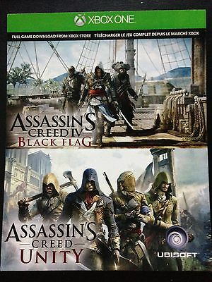 NEW -  Assassins Creed Black Flag & Unity Digital Download Bundle XBOX ONE