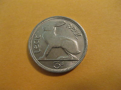 "1961-68 Ireland Coin, 3 pence ""HARE"" super neat rabbit coin nice (1 coin)"