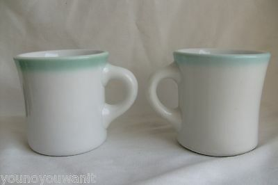 Old Shenango China USA Green Trim Mugs Restaurant Ware 1 Lawrence Thriftware