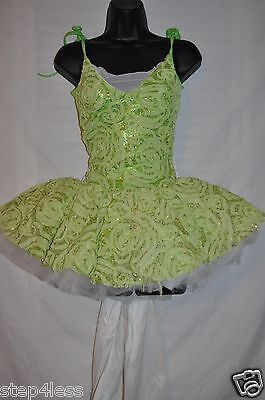 New Adult Small Green  metallic  TuTu Performance Pageant Stage Prom Dance Dress