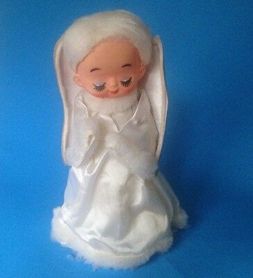Vintage Celluloid & Cardboard Christmas Tree Angel Topper Japan 1940's