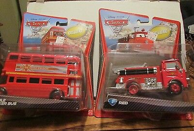 #3 RED and #4 DOUBLE DECKER BUS DELUXE Cars 2 Disney Pixar RARE 1st Releases