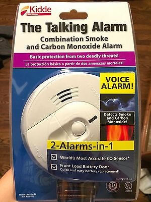 """Kidde """"The Talking Alarm"""" Detects Smoke Fire and Carbon Monoxide Battery Powered"""