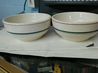 2 Vintage  Restaurant Ware SHENANGO  Bowls China White with Green & red stripe
