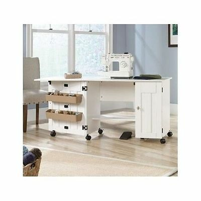Sewing Machine Table Scrapbooking Crafting Cart Hobby Desk Laundry Clothes White