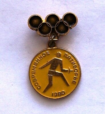 Olympic Pin Moscow 1980 USSR Fencing