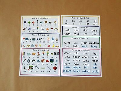 Phonics A4 Word/sound Mats - Phases 2 -5 - Letters and Sounds