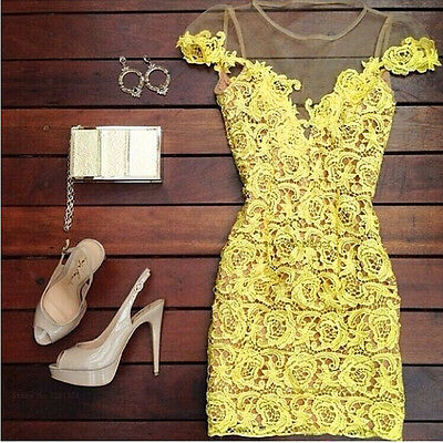 Summer Fashion Women Bodycon Lace Evening Sexy Party Cocktail Mini Dress Yellow