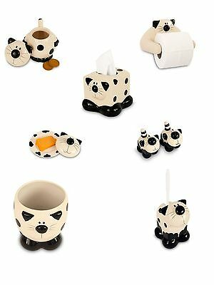 Ceramic Cat Design Cookie Salt Pepper Waste Toilet Brush Roll Holder Tissue