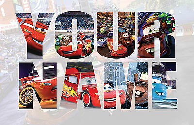 Personalised Kids Nursery Disney Cars Name Wall decal stickers *3 SIZES*