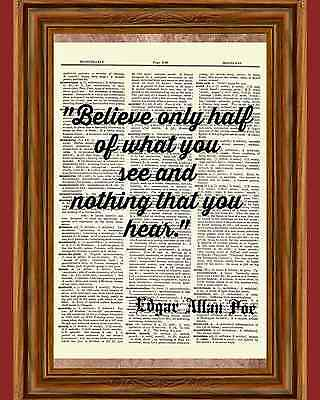 Edgar Allan Poe quote citation 3 print dictionary page art poster reproduction
