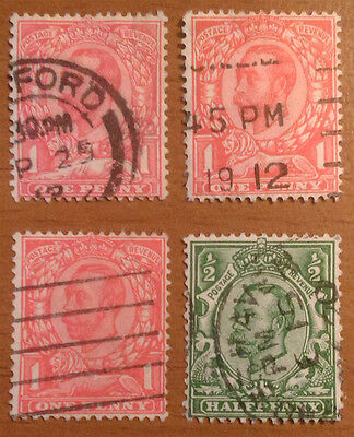GREAT BRITAIN 1911/12, GEORGE V, LOT OF 4, DIFFERENT ISSUES, CANCELLED