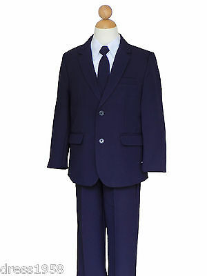 Boys Holiday, Recital, Ring Bearer, Navy Blue/White Suit, Sz: All Sizes
