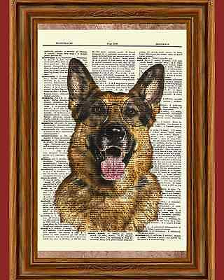 German Shepherd Glasses Dog Puppy Dictionary Art Print Book Picture Poster Breed