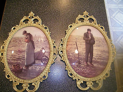 2 antique vintage convex bubble curved glass french victorian shabby pictures fr
