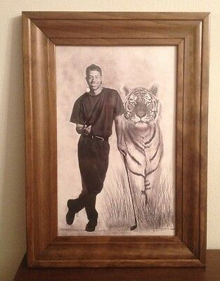 Tiger Woods With Bengal Tiger Litho Framed Photo By Artist Dave Rother