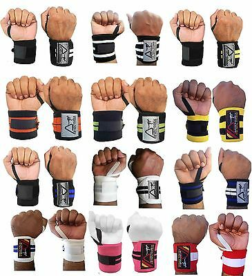 Austodex Weight Lifting Gym Wrist Support Bodybuilding Bar Straps Wraps Gloves