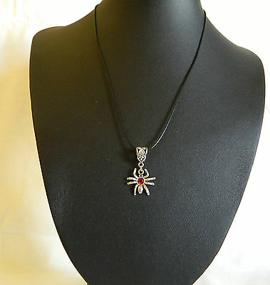Spider with Red Rhinestone Necklace Pendant
