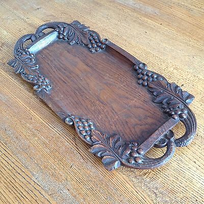 Vintage French Wooden Hand Carved Solid Oak Cheese Bread Board Tray