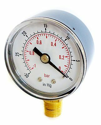 Vacuum Gauge 40mm Dial -30*Hg & -1/0 Bar 1/8 BSPT BOTTOM  and/or Hose Tails