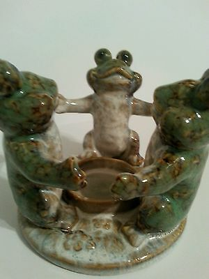 Triple Frog Candle Holder Ceramic Glazed Pottery Green Ring Around The Roses