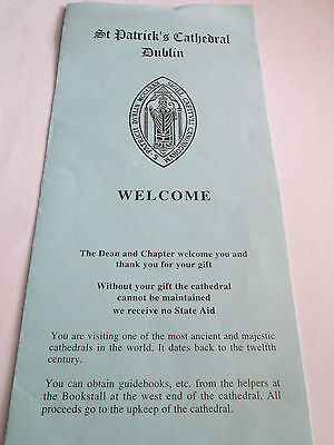Vintage brochure for St. Patrick's Cathedral, Dublin, Ireland.