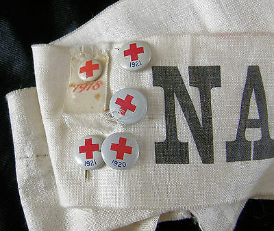 LOT OF FIVE RED CROSS PINS on A NASHUA MILLS SASH - WWI ERA