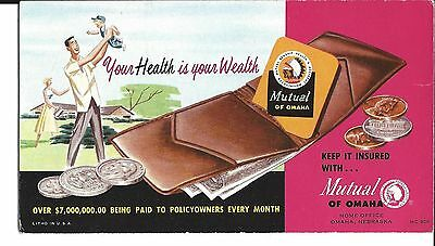 """Mutual of Omaha blotter  """"Your Health is your Wealth""""  gently used condition"""
