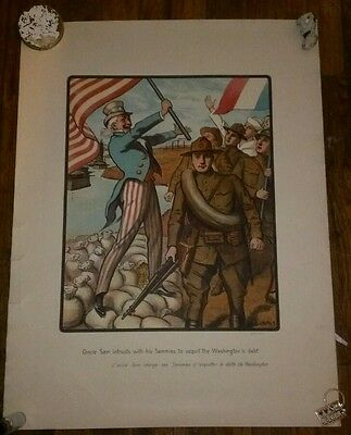 "ORIGINAL WWI LOUIS MALTESTE POSTER ""ONCLE SAM AND WASHINGTON'S DEBT!"" 20x26"