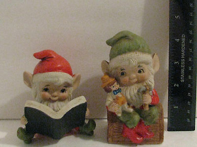 HOMCO-pair elf boy's-#5406-toy fixer/book reader-porcelain-4 1/2 to 3 ins tall
