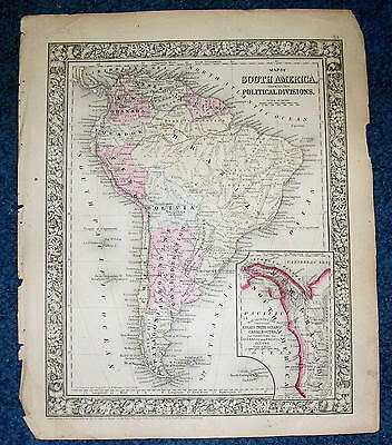 Origial1860 Mitchell Map of South America Showing Its Political Divisions