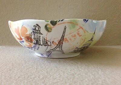 222 FIFTH PARIS TRAVELS EIFFEL TOWER SOUP CEREAL BOWLS SET OF 4