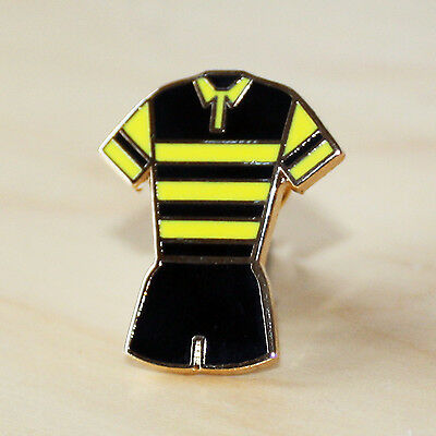 Yellow & Black Hooped Rugby Union Kit Enamel Badge - Wasps Colours