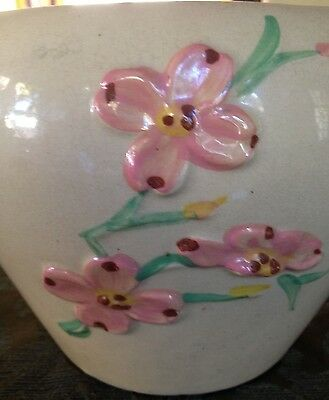 """ROSEVILLE POTTERY PLANTER FLORAL PATTERN, MARKED, U.S.A., 9"""" WIDE X 6 1/4""""TALL"""