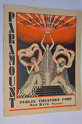 VINTAGE 1929 TOLEDO-PARAMOUNT THEATRE INAUGURAL PROGRAM! 1st USA TALKING PICTURE