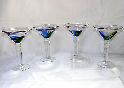 """MARTINI GLASSES Thick Heavy Clear Glass Green & Blue Accent, Set of 4, 7"""" tall"""