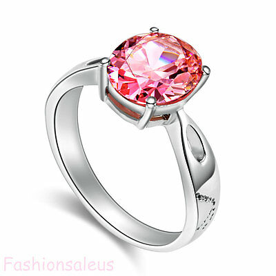 Stainless Steel Eternity Pink 2.5 Ct Cubic Zirconia Women's Wedding Band Ring