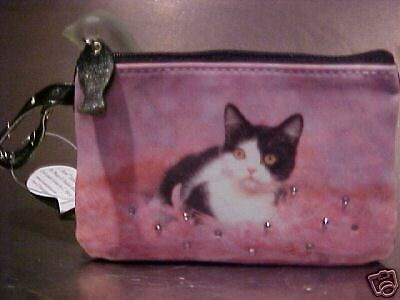 "Black And White  Cat ""tickle Me Pink ""  Coin Purse"