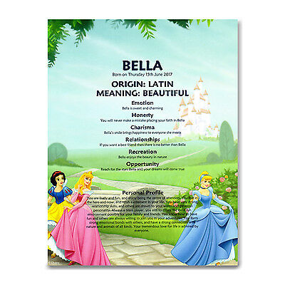 NAME MEANING PRINT * Disney Princess * Personalised Gift Christening Baby Girl