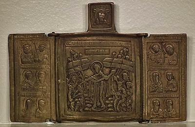 Antique Russian Orthodox Brass Triptych Icon The Mother Of Good Joy Of All