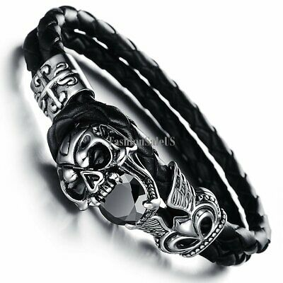 Black Leather Weave Wristband Punk Skull Unisex Bangle Bracelet Halloween Gift