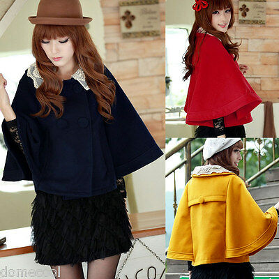 Women's Lace Batwing Sleeves Double Breasted Collar Cloak Solid Short Cape Coat