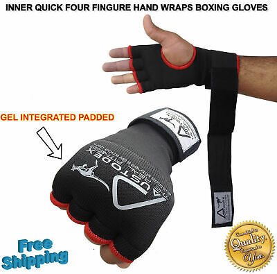 Austodex Fist Gel Bandages MMA boxing Inner Quick Hand Wraps Gloves straps black