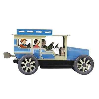 Vintage Wind-up Jalopy Collectible Car Tin Toy Model with Well Dressed Driver