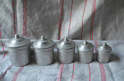 Vintage French aluminium kitchen storage canisters, full set of 5