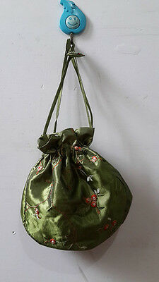 Hot Sale Chinese silk embroidered bags handmade Army Green