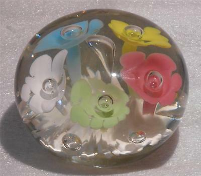 Clearance -Lovely Large American Midwest Pastel Trumpet Flower Glass Paperweight