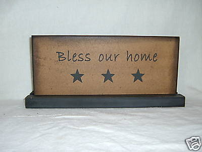 Primitive Bless Our Home Wooden Sign Table Top Sign
